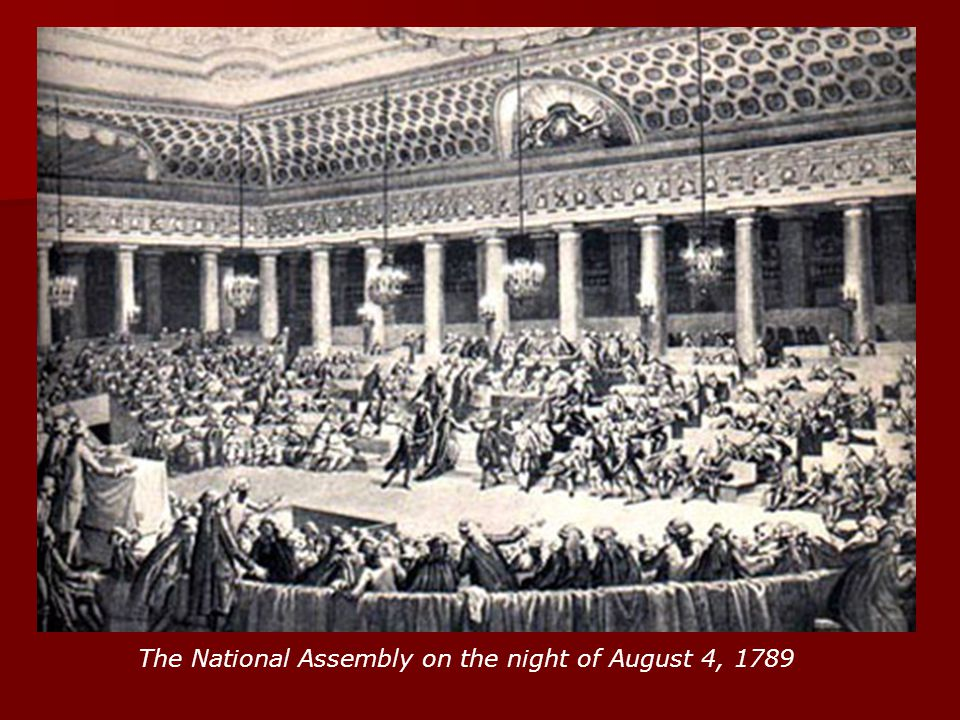 The National Assembly on the night of August 4, 1789