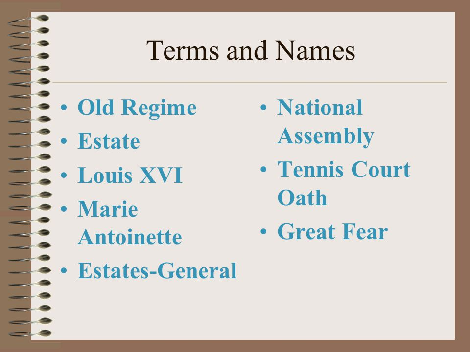 Terms and Names Old Regime Estate Louis XVI Marie Antoinette