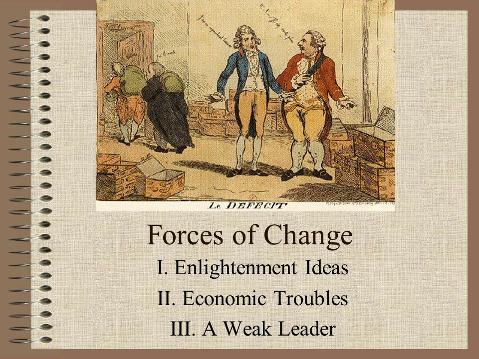 I. Enlightenment Ideas II. Economic Troubles III. A Weak Leader