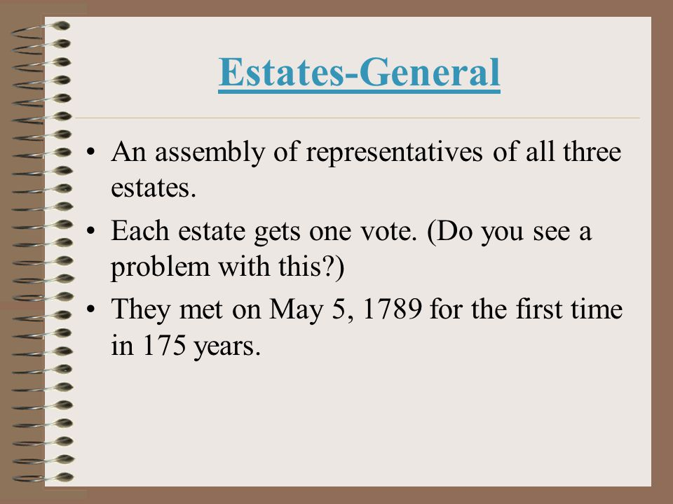 Estates-General An assembly of representatives of all three estates.