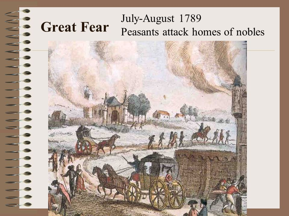 July-August 1789 Peasants attack homes of nobles Great Fear
