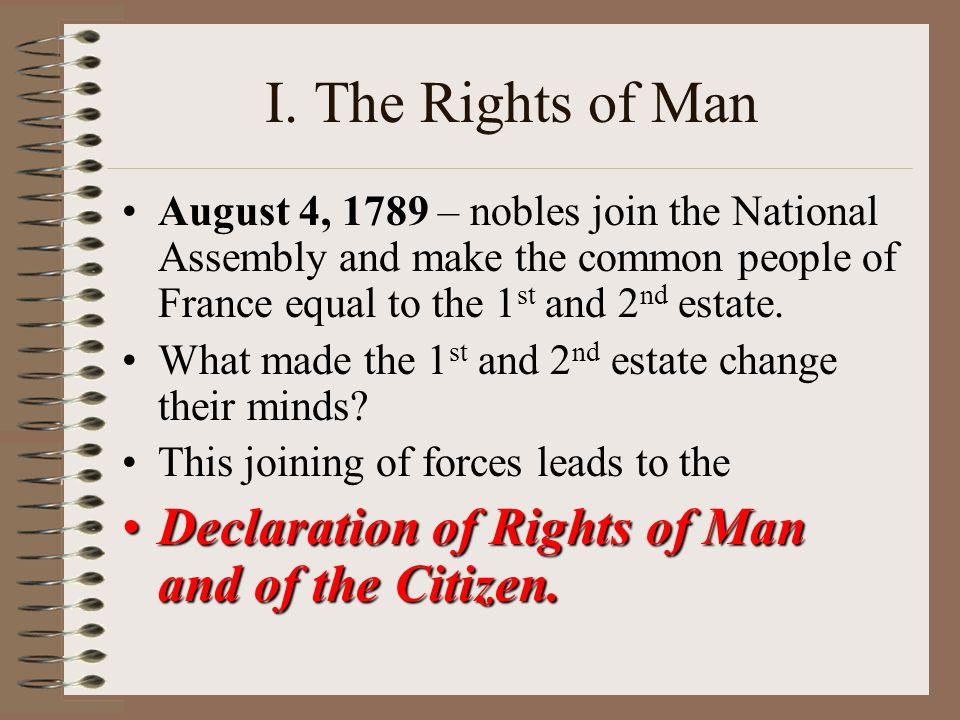 I. The Rights of Man Declaration of Rights of Man and of the Citizen.