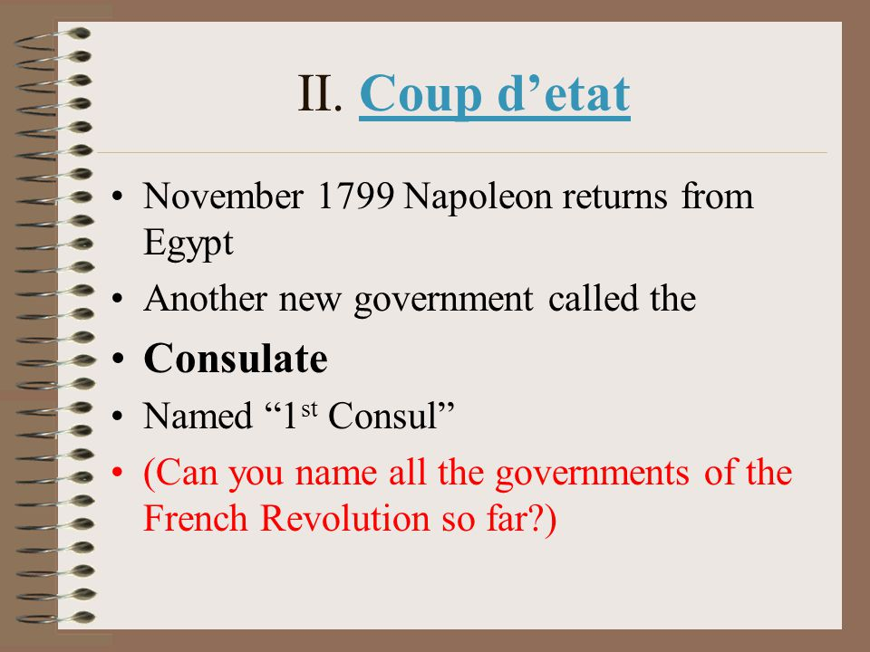 II. Coup d'etat Consulate November 1799 Napoleon returns from Egypt