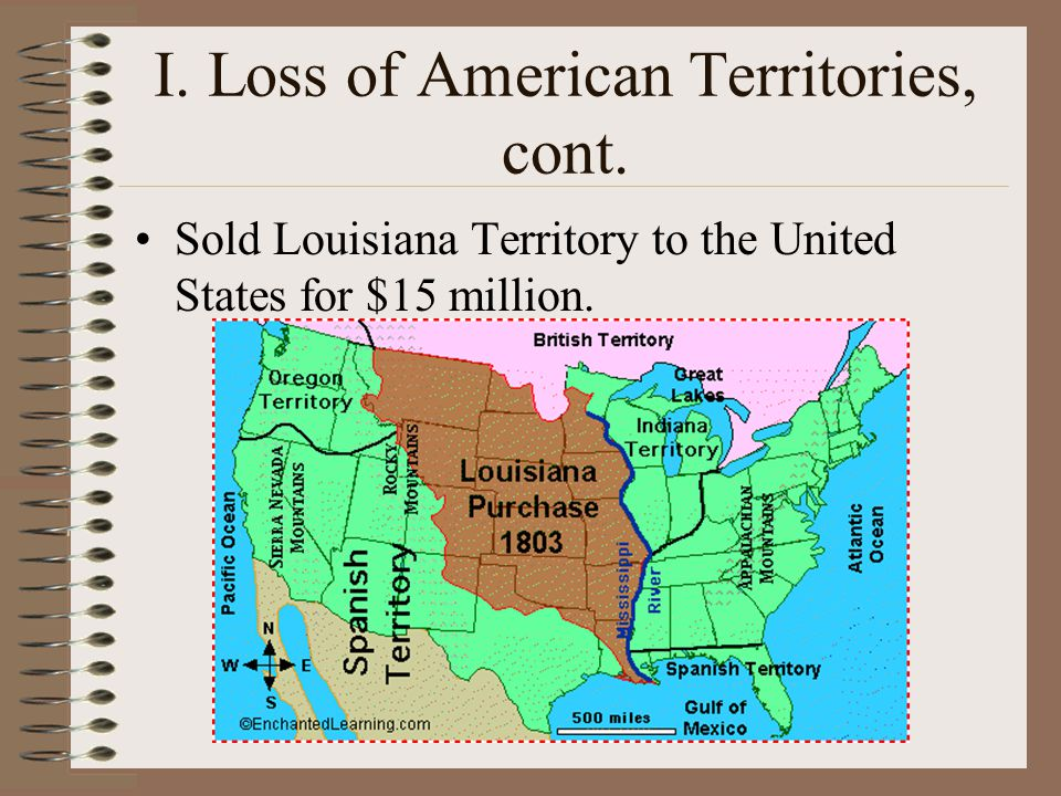 I. Loss of American Territories, cont.