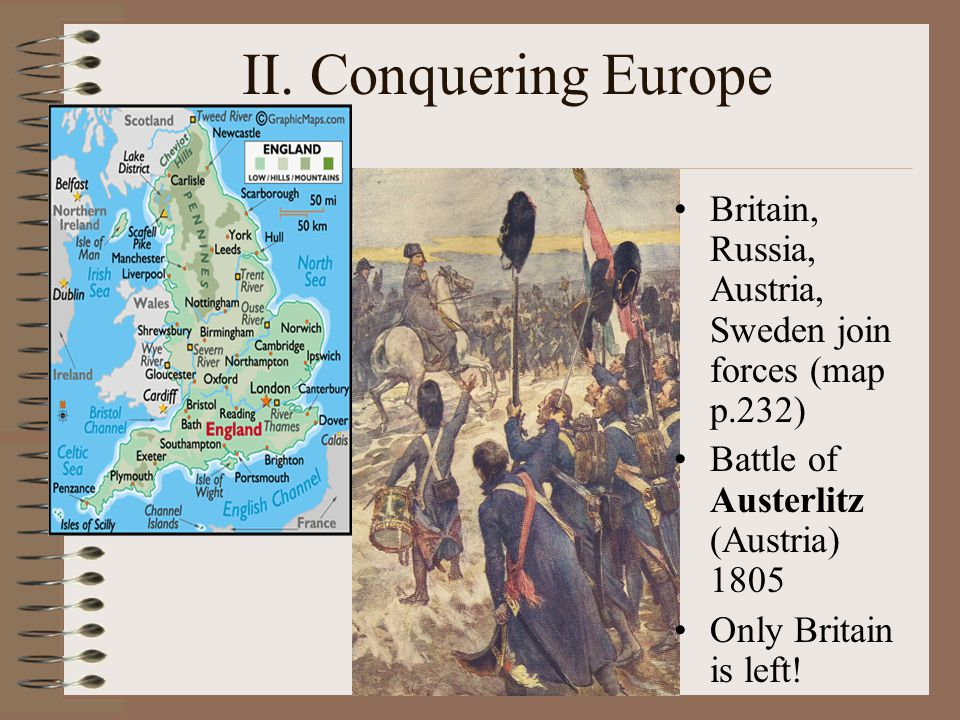 II. Conquering Europe Britain, Russia, Austria, Sweden join forces (map p.232) Battle of Austerlitz (Austria) 1805.