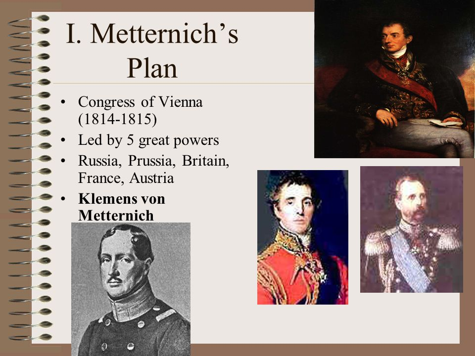 I. Metternich's Plan Congress of Vienna (1814-1815)