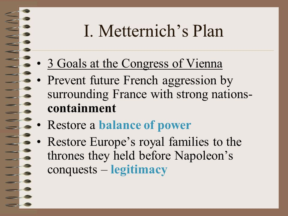 I. Metternich's Plan 3 Goals at the Congress of Vienna