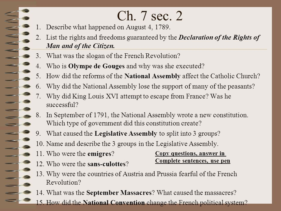Ch. 7 sec. 2 Describe what happened on August 4, 1789.