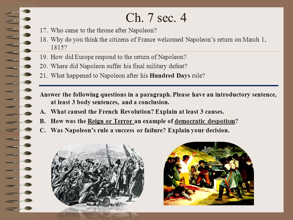 Ch. 7 sec. 4 Who came to the throne after Napoleon