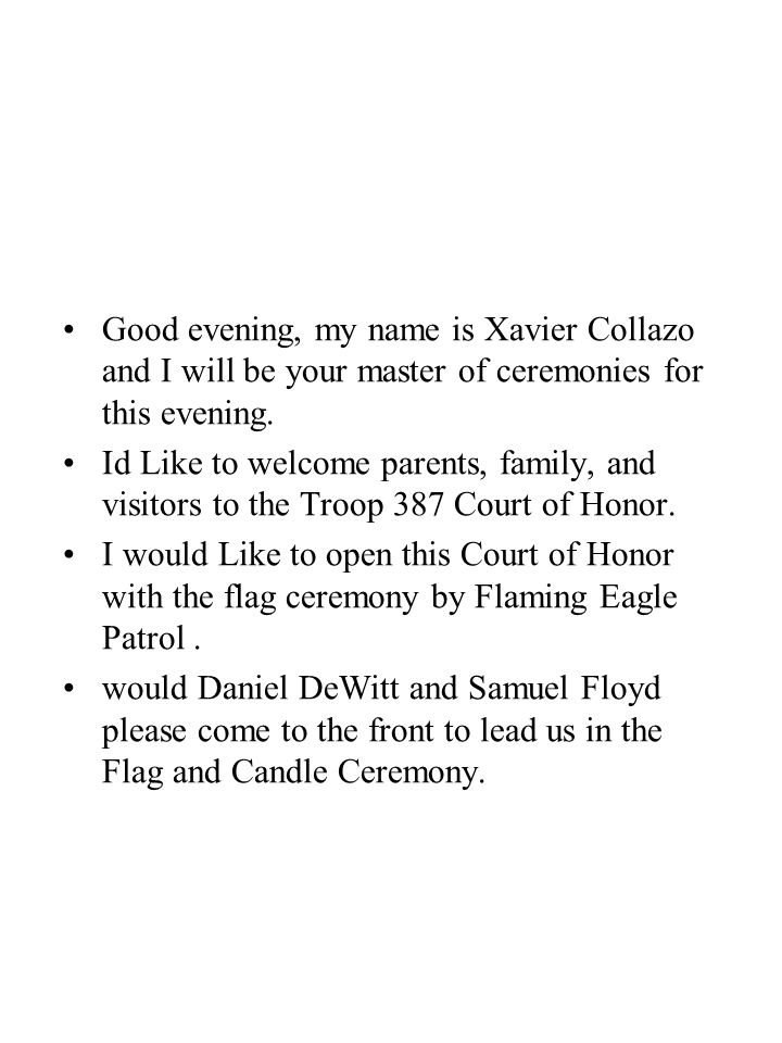 Good evening, my name is Xavier Collazo and I will be your master of ceremonies for this evening.