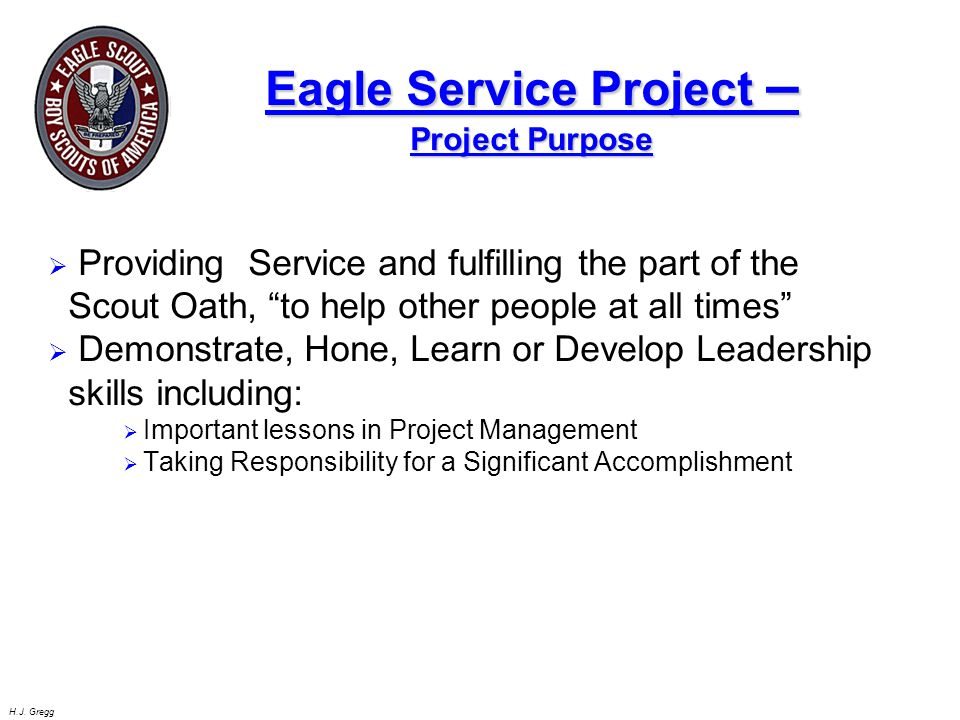Eagle Service Project –Project Purpose