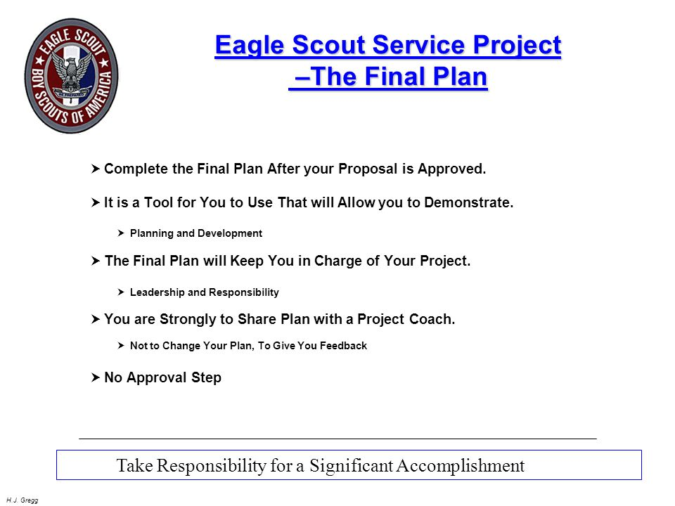 Eagle Scout Service Project –The Final Plan
