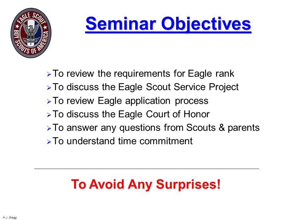 Seminar Objectives To Avoid Any Surprises!