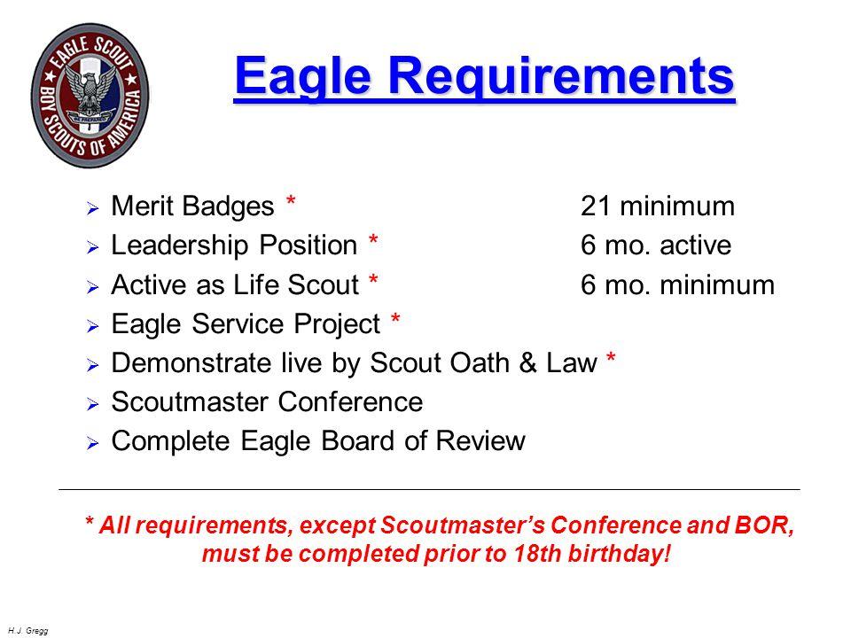 Eagle Requirements Merit Badges * 21 minimum