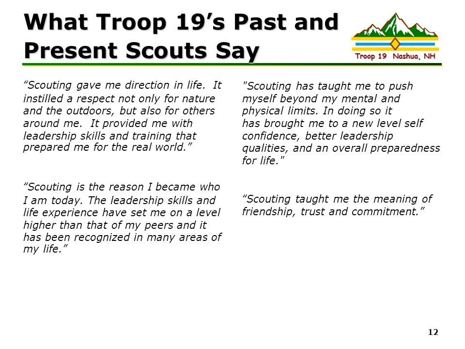 What Troop 19's Past and Present Scouts Say