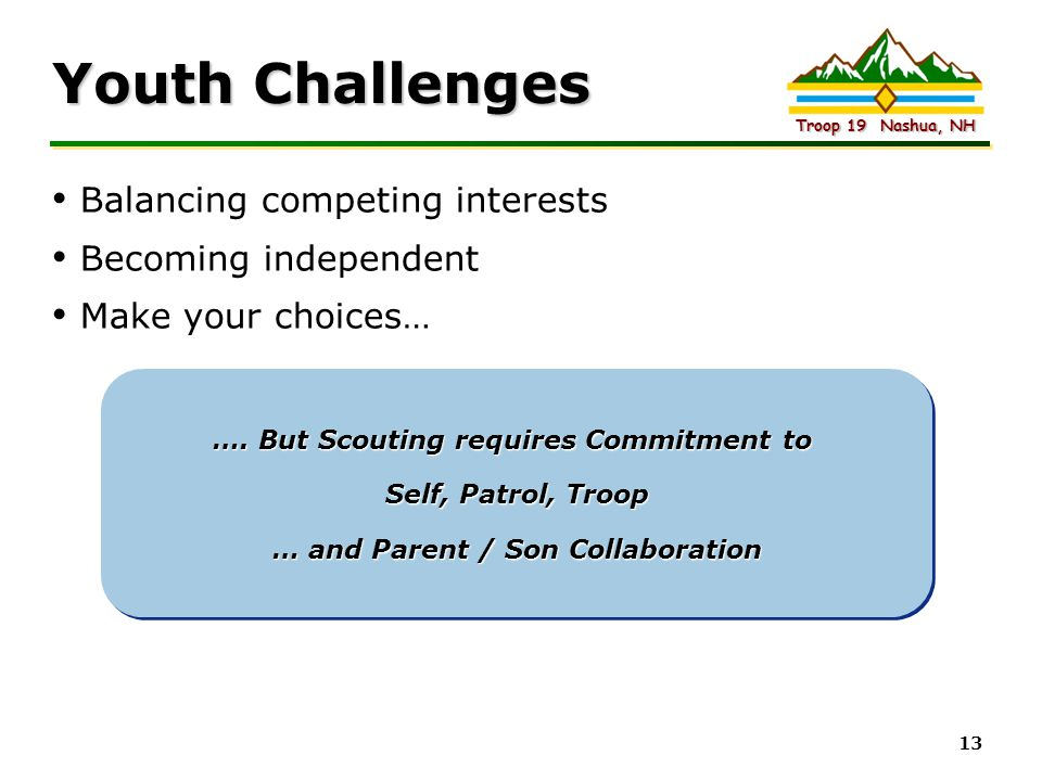 Youth Challenges Balancing competing interests Becoming independent