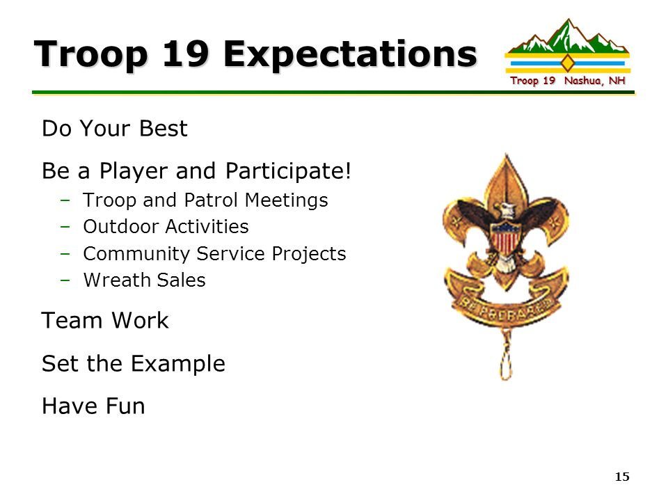 Troop 19 Expectations Do Your Best Be a Player and Participate!