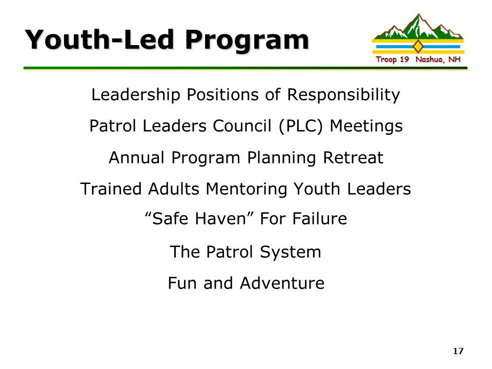 Youth-Led Program Leadership Positions of Responsibility