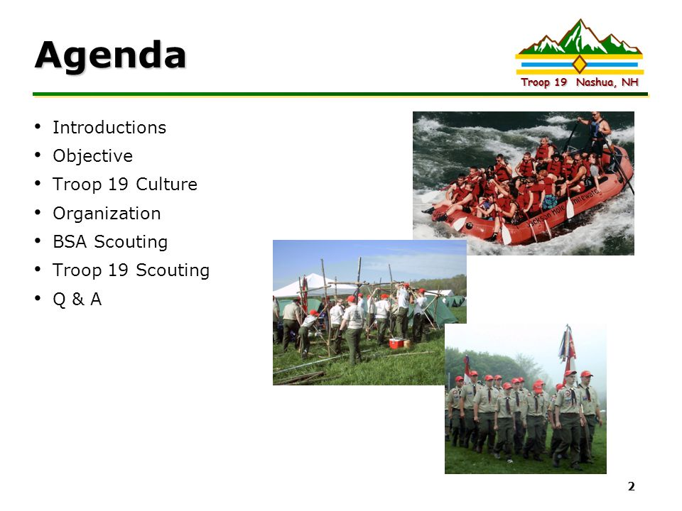Agenda Introductions Objective Troop 19 Culture Organization