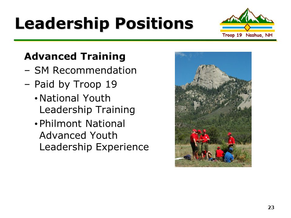 Leadership Positions Advanced Training SM Recommendation