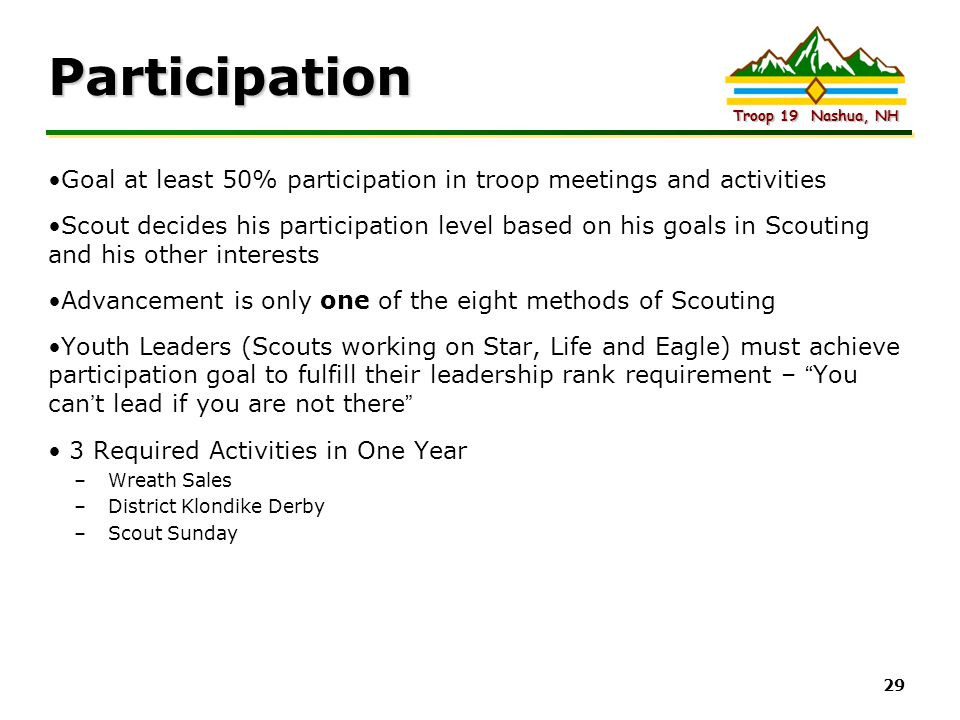 Participation Goal at least 50% participation in troop meetings and activities.