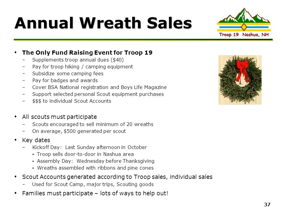 Annual Wreath Sales The Only Fund Raising Event for Troop 19