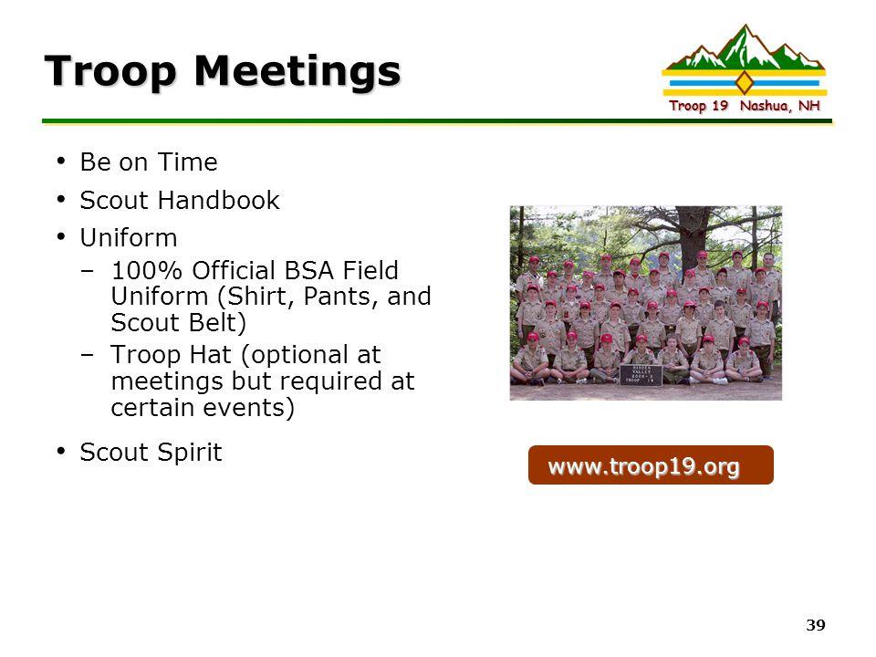 Troop Meetings Be on Time Scout Handbook Uniform