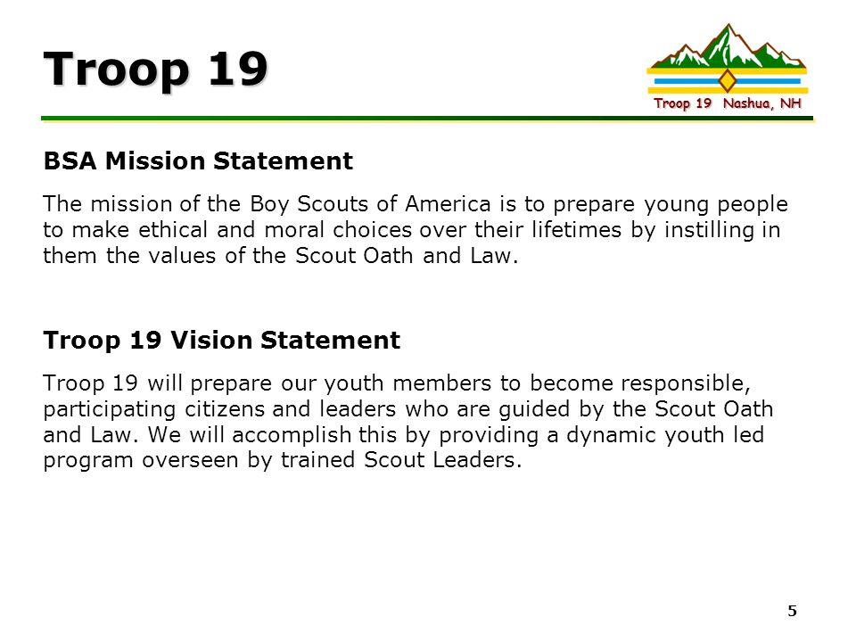 Troop 19 BSA Mission Statement Troop 19 Vision Statement