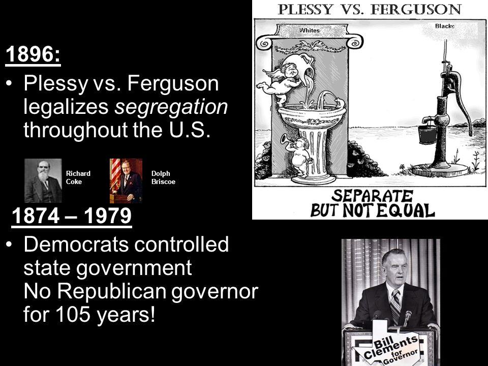 Plessy vs. Ferguson legalizes segregation throughout the U.S.