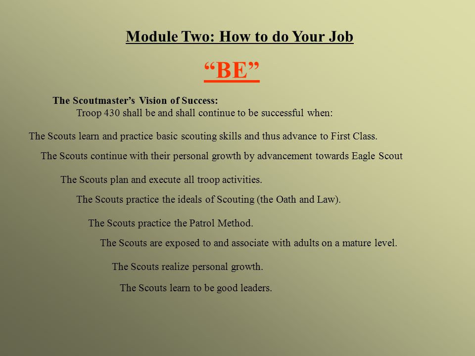 Module Two: How to do Your Job