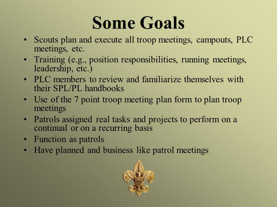 Some Goals Scouts plan and execute all troop meetings, campouts, PLC meetings, etc.