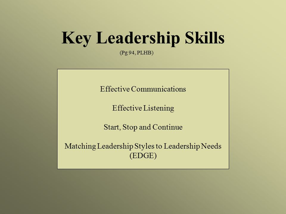 Key Leadership Skills Effective Communications Effective Listening