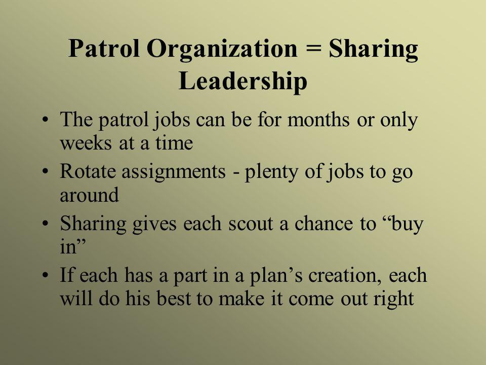 Patrol Organization = Sharing Leadership