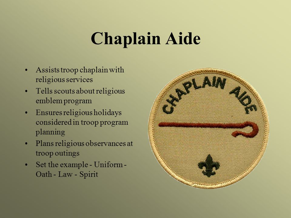 Chaplain Aide Assists troop chaplain with religious services