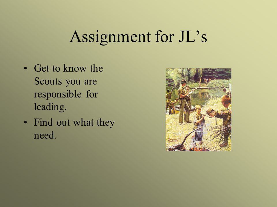 Assignment for JL's Get to know the Scouts you are responsible for leading.