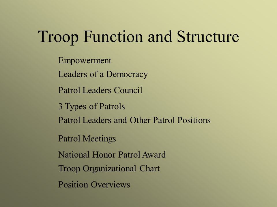 Troop Function and Structure