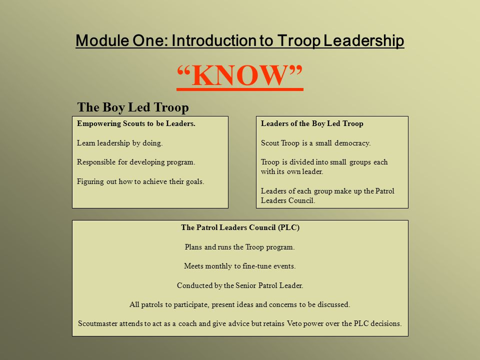 KNOW Module One: Introduction to Troop Leadership The Boy Led Troop