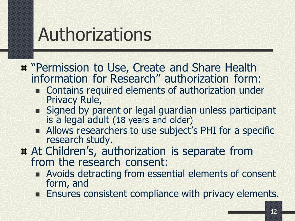 Authorizations Permission to Use, Create and Share Health information for Research authorization form: