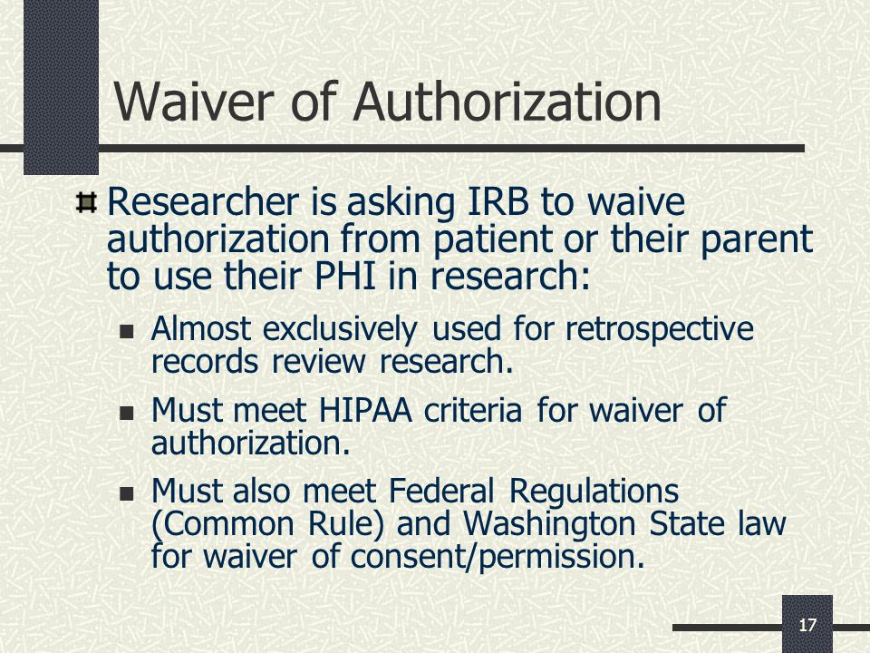 Waiver of Authorization