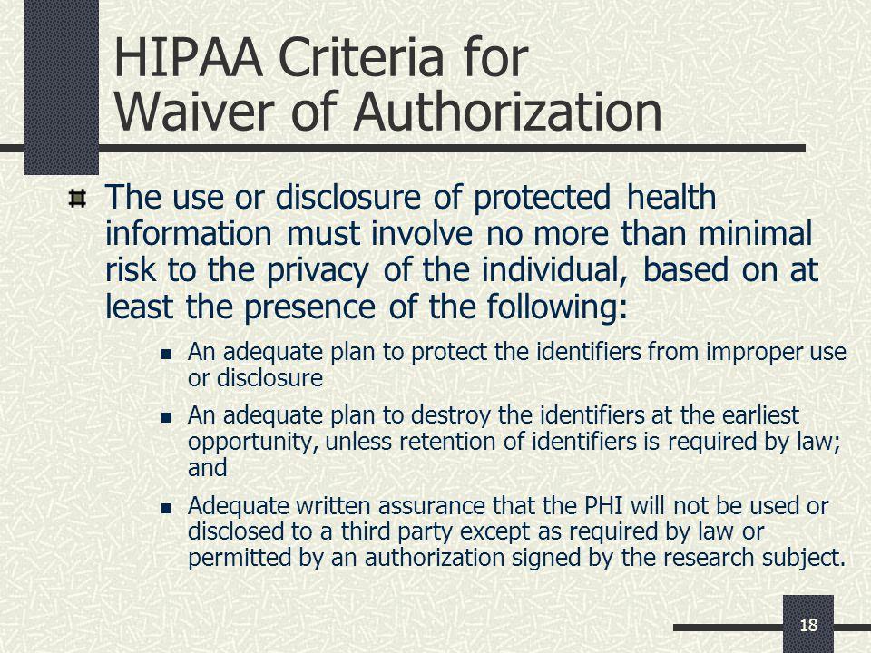 HIPAA Criteria for Waiver of Authorization