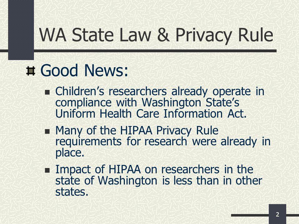 WA State Law & Privacy Rule