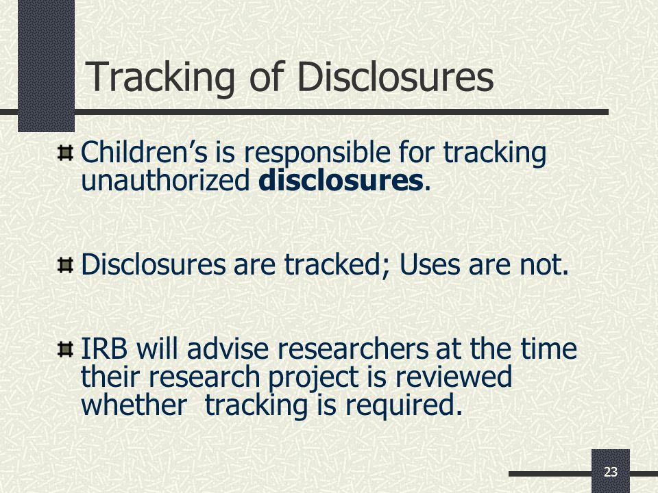 Tracking of Disclosures