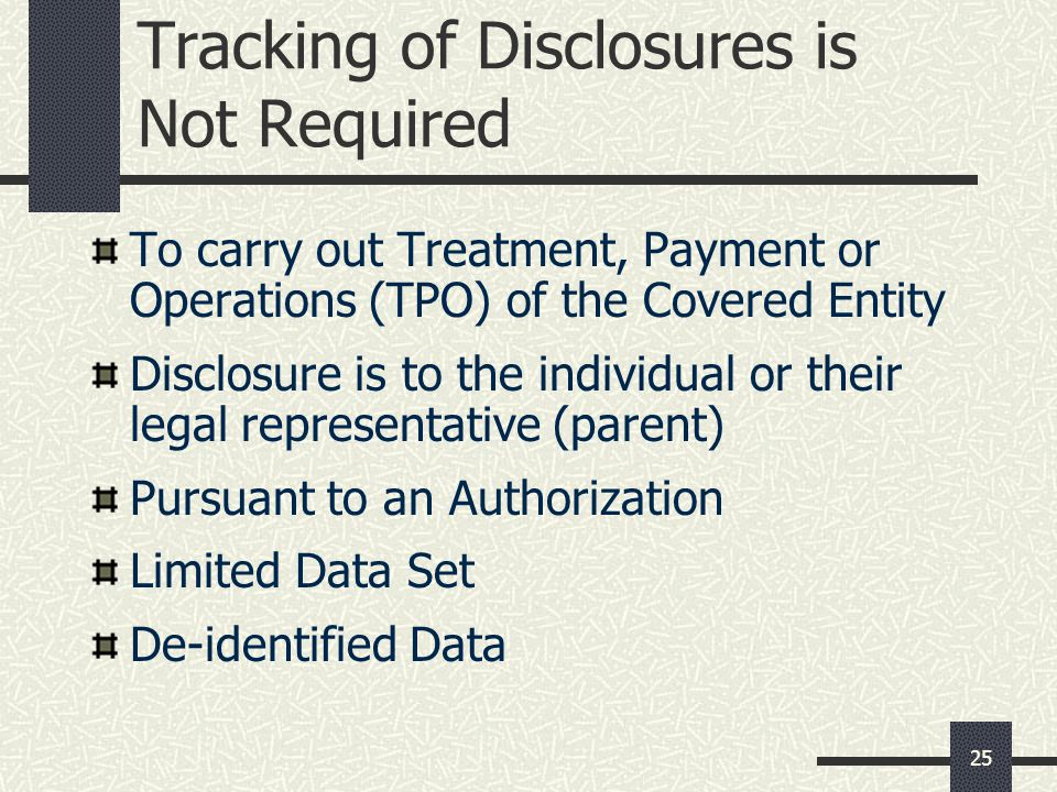 Tracking of Disclosures is Not Required