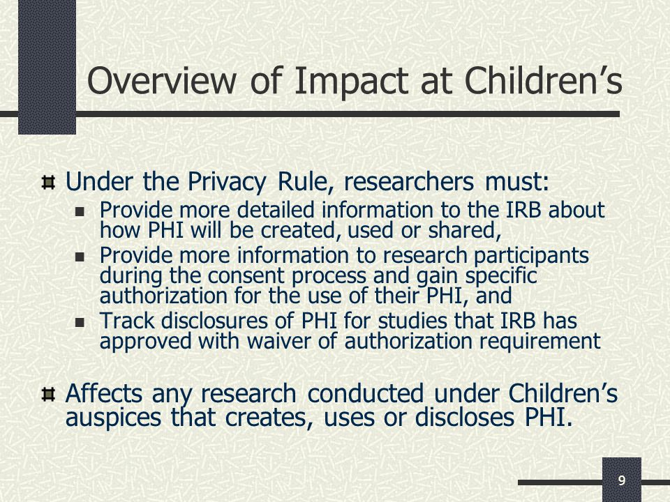 Overview of Impact at Children's