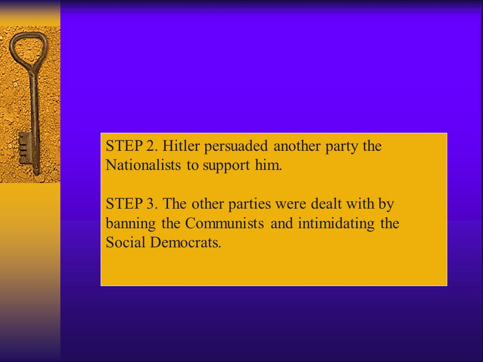 STEP 2. Hitler persuaded another party the Nationalists to support him.