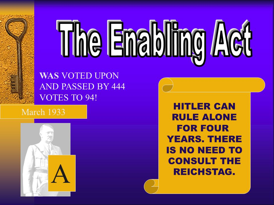 A The Enabling Act WAS VOTED UPON AND PASSED BY 444 VOTES TO 94!