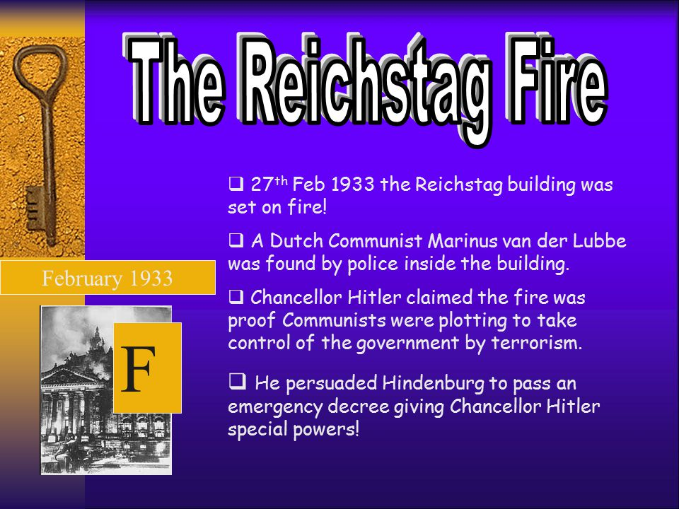 The Reichstag Fire 27th Feb 1933 the Reichstag building was set on fire!