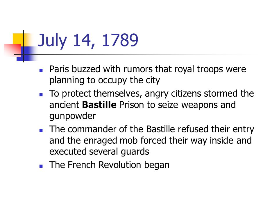 July 14, 1789 Paris buzzed with rumors that royal troops were planning to occupy the city.