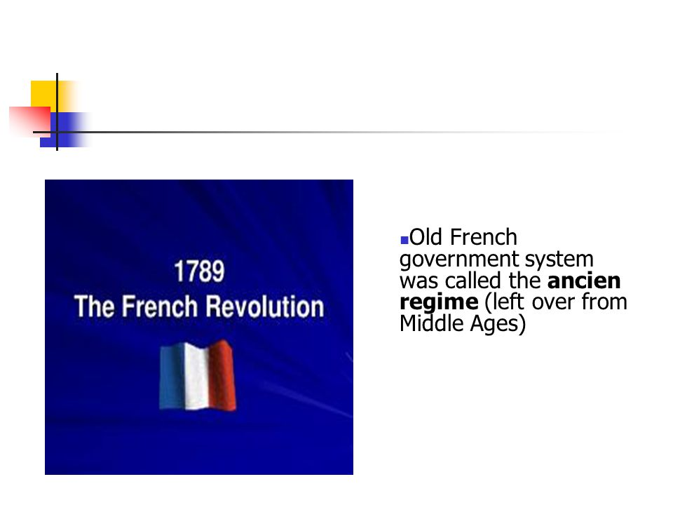 Old French government system was called the ancien regime (left over from Middle Ages)