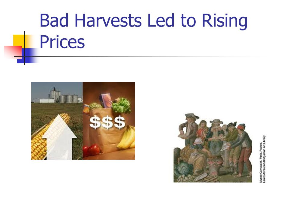 Bad Harvests Led to Rising Prices